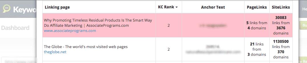 KC 3.0 Backlinks Report Screenshot 2
